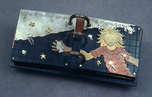 artist's book made of brass, copper, formica, illustrating Italo Calvino's story The Distance of the Moon